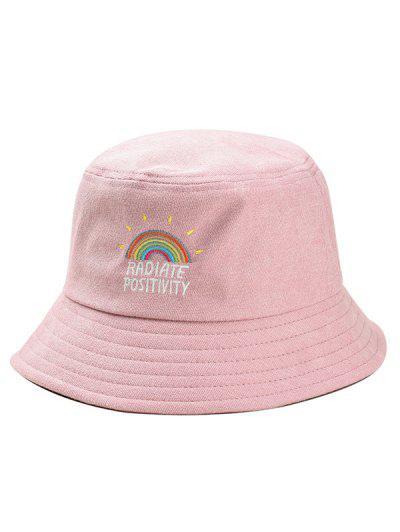 Cappello Da Pescatore Di Velluto A Coste Con Ricamo Arcobaleno - Rosa 7200fa235d75