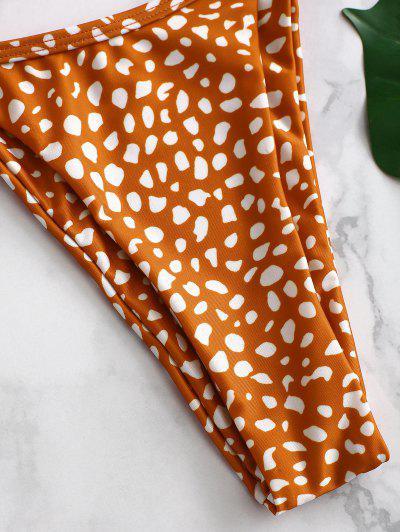ZAFUL Printed Tie String Bikini Set, Chestnut red