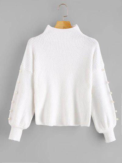 High Neck Faux Pearl Embellished Sweater - White 72bee7ef7