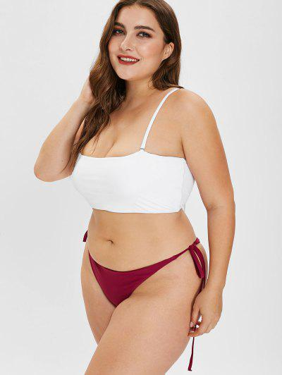 f88700182e ... Qonew Lace-up Plus Size Bandeau Bikini Set - White L
