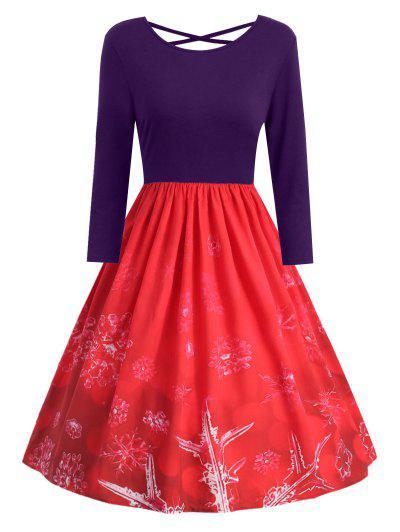 Plus Size Christmas Snowflake Print Criss Cross Dress - Purple 5x