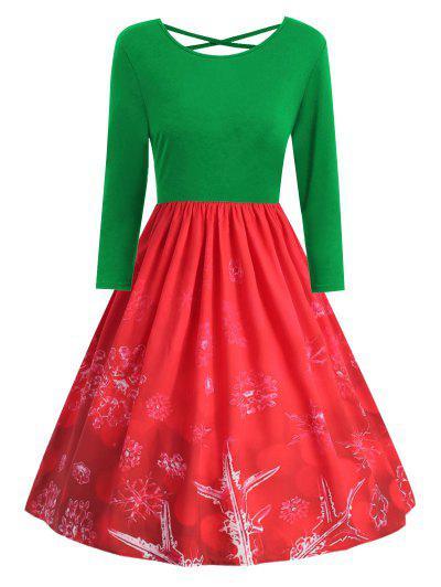 Vestido De Natal Plus Size Cruzado De Impressão De Floco De Neve - Verde De Selva 4x