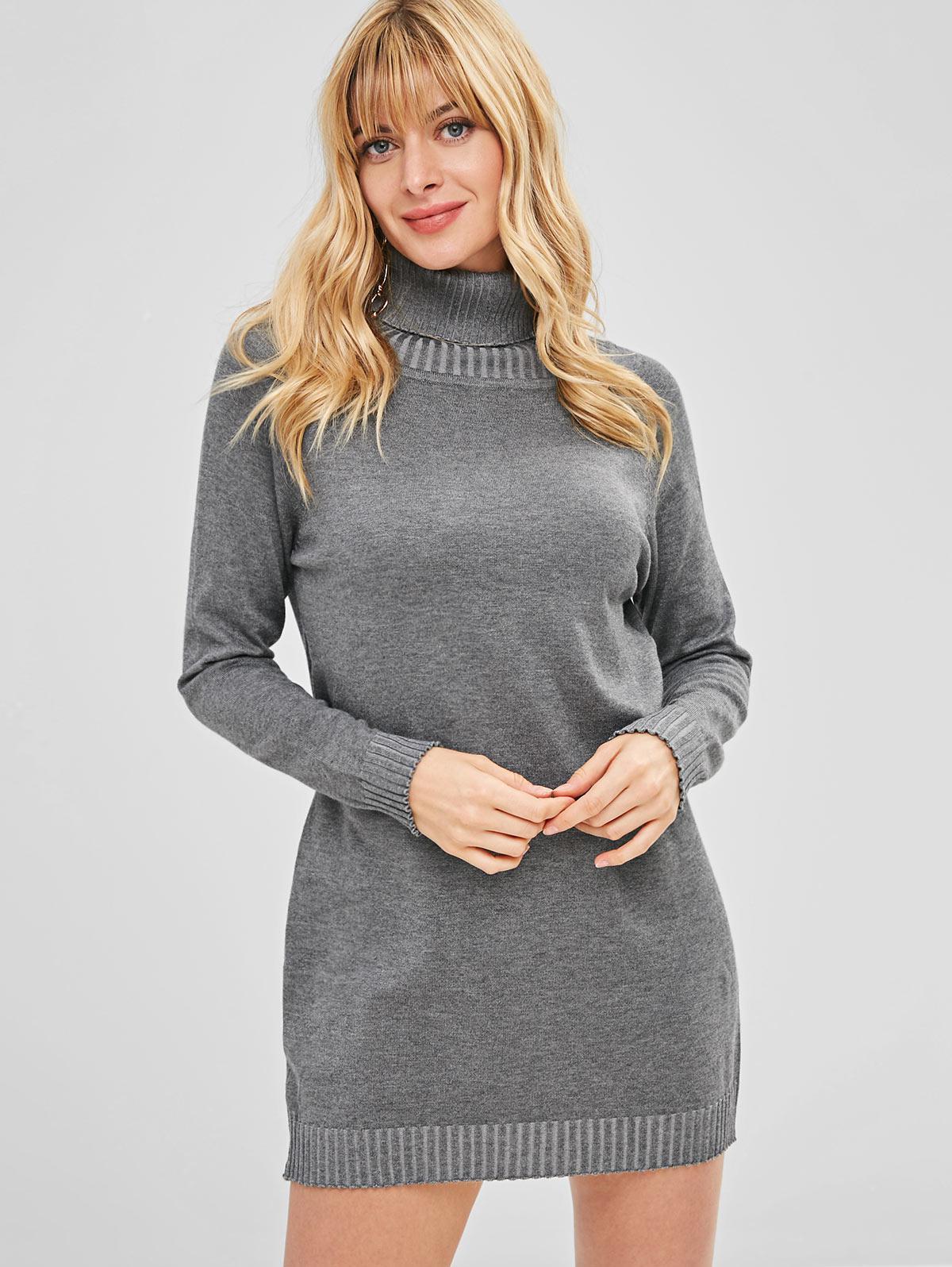 Raglan Sleeves Turtleneck Knitted Dress, Light slate gray