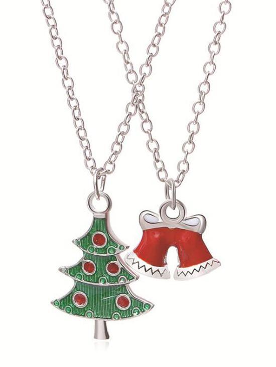 2Pcs Christmas Bell Pendant Necklaces