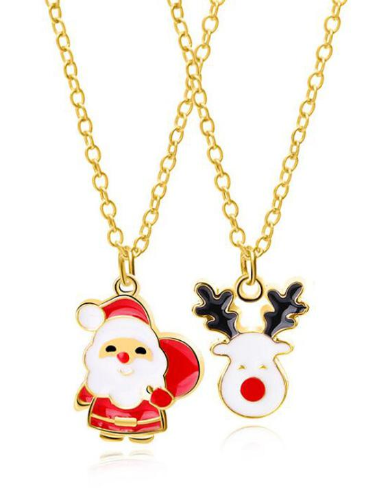 2Pcs Christmas Deer Printed  Metal Necklaces