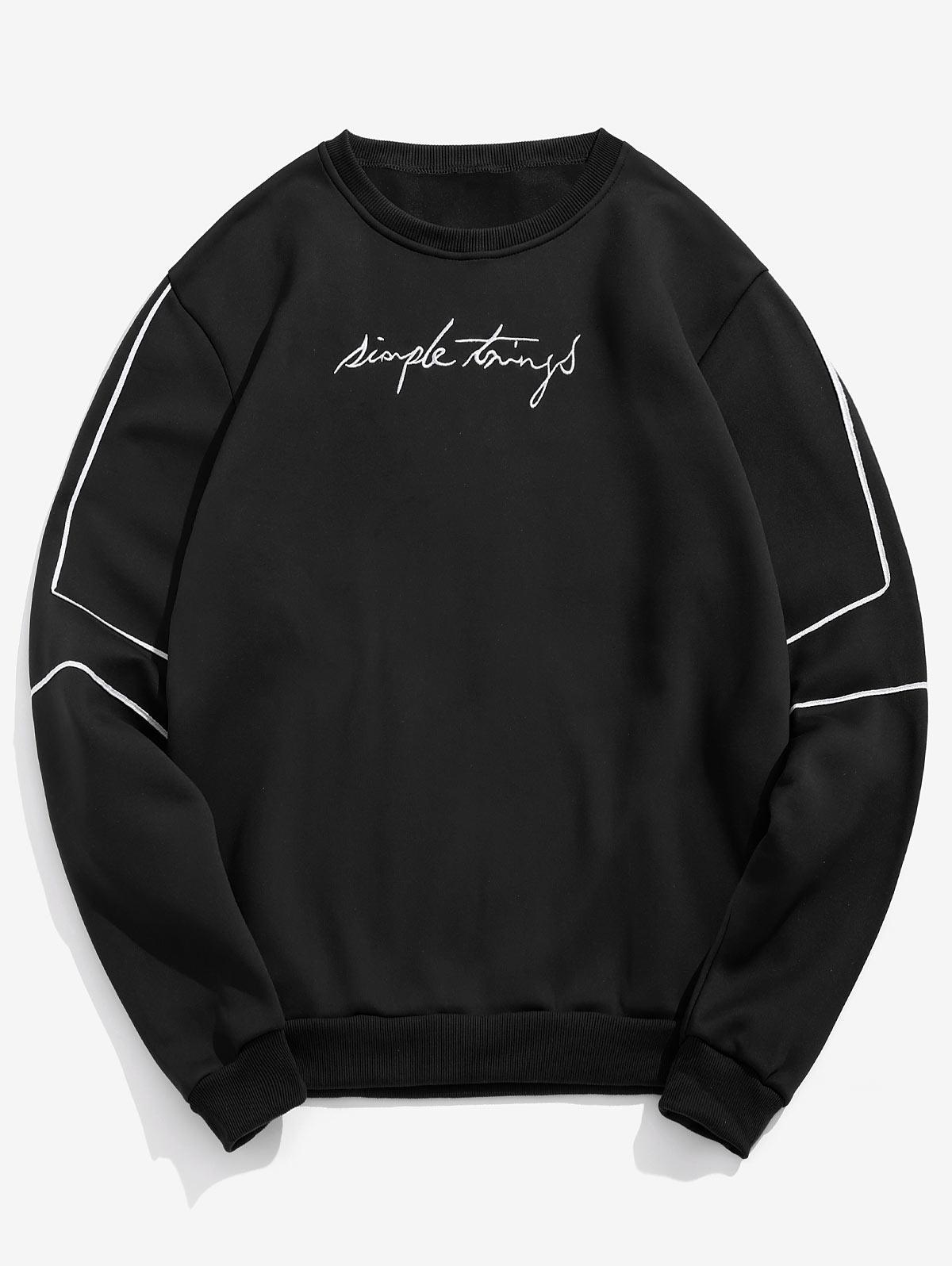 Embroidery Letter Striped Fleece Sweatshirt, Black