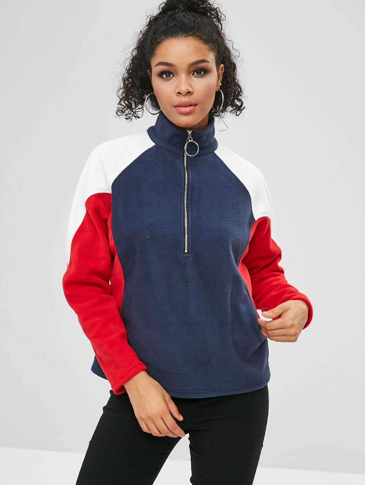 ZAFUL Half Zip Color Block Pockets Sweatshirt