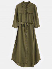 فستان بنمط قميص مكسي - الجيش الأخضر L