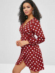 بولكا دوت التفاف فستان طويل الأكمام - نبيذ احمر M