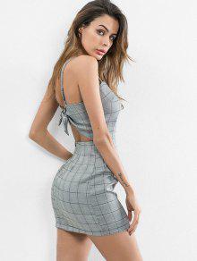 فستان بظهر منسوج من الخلف - ازرق رمادي M