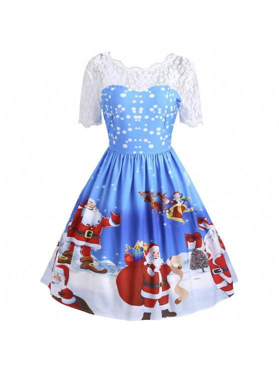 unique Vintage Christmas Santa Claus Print Lace Insert Dress - BLUE S