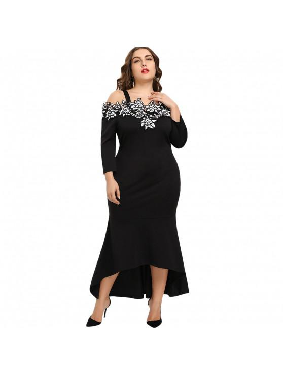 Plus Size Embroidery Bodycon Mermaid Dress