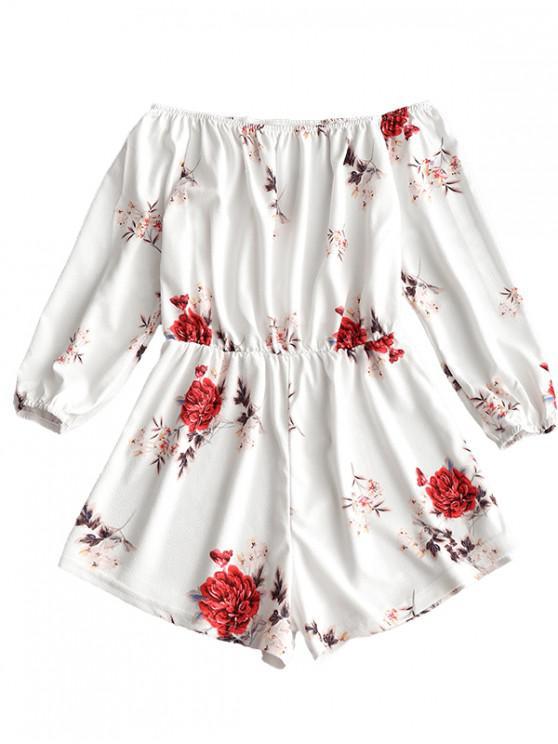 Combishort à Imprimé Floral à épaules Dénudées - Blanc M