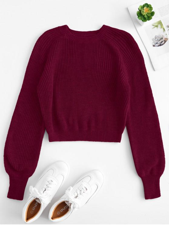 trendy Raglan Sleeves Crop Sweater - FIREBRICK S
