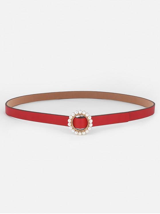 womens Elegant Faux Pearl Buckle Dress Belt - RED