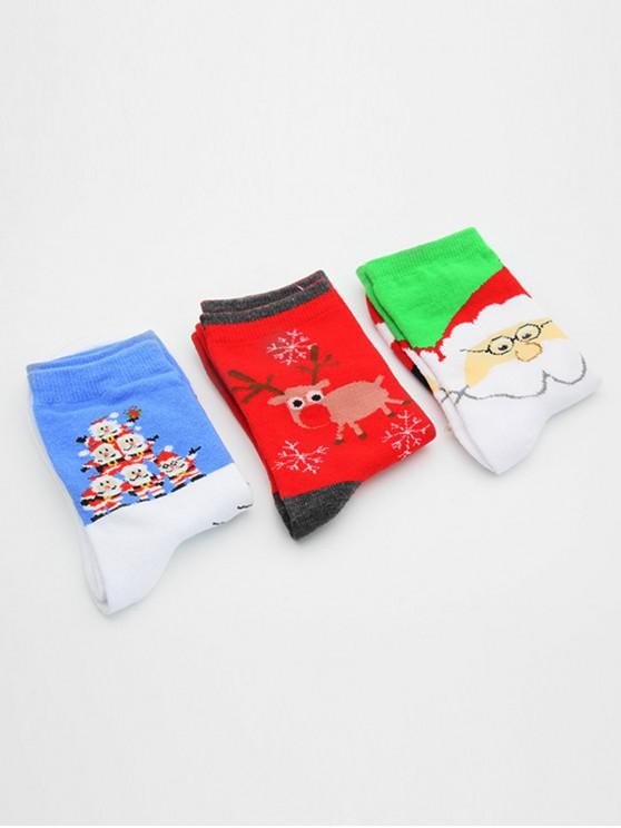 fashion 3 Pairs Santa Claus Elk Printing Winter Socks - MULTI-A