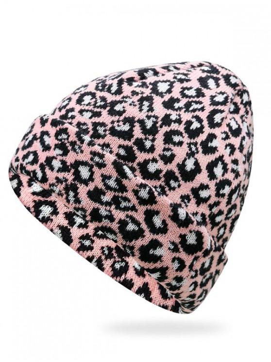 fancy Stylish Leopard Flanging Knit Cap - LIGHT PINK