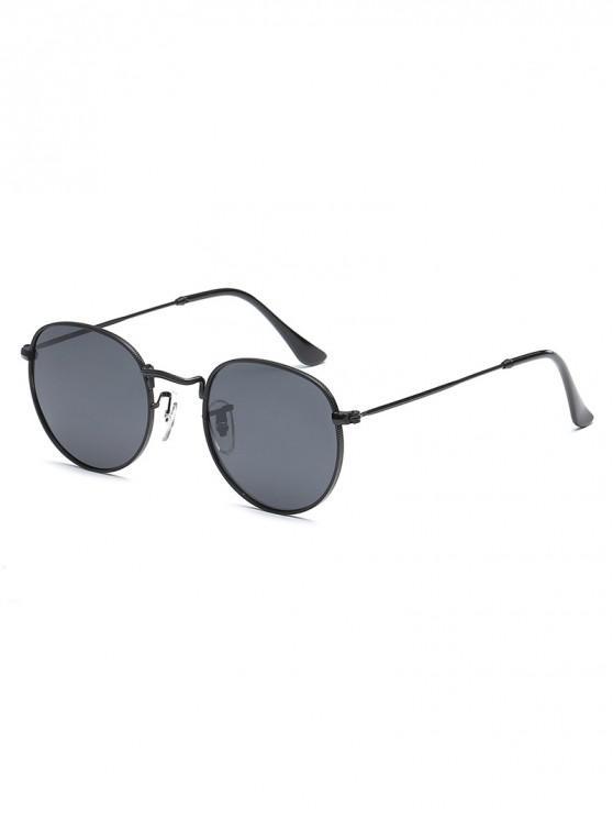 Anti Uv Metal Full Frame Oval Sunglasses   Black by Zaful