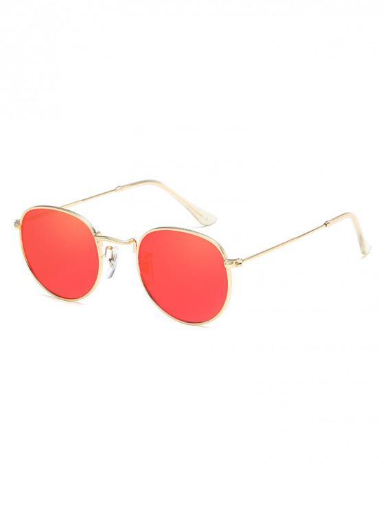 trendy Anti UV Metal Full Frame Oval Sunglasses - BEAN RED