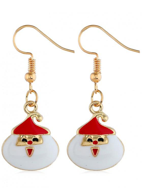 shops Smile Christmas Santa Printed Drop Earrings - GOLD
