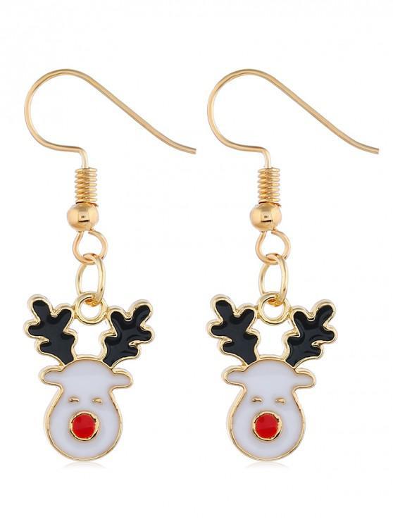 lady Smile Christmas Deer Pattern Drop Earrings - GOLD