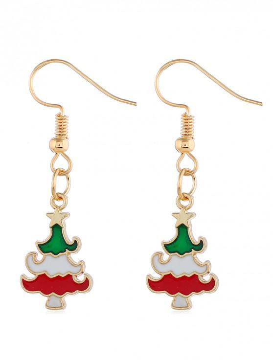 trendy Alloy Design Christmas Tree Earrings - GOLD