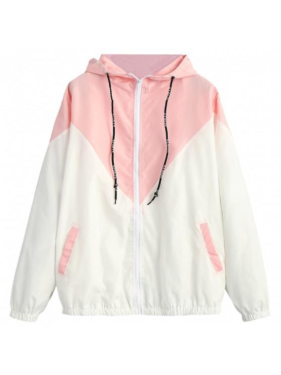 outfits Two Tone Hooded Windbreaker - PINK L