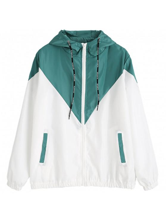 buy Two Tone Hooded Windbreaker - BLUE GREEN L