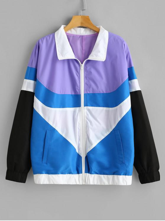 lady ZAFUL Color Block Loose Fit Windbreaker - MULTI XL