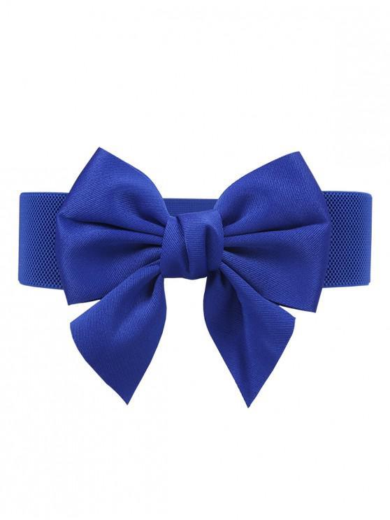 online Bowknot Embellished Elastic Dress Belt - BLUEBERRY BLUE