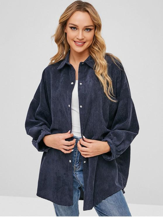 Camisa de bolsillo de pana de gran tamaño - Azul de Medianoche Talla única