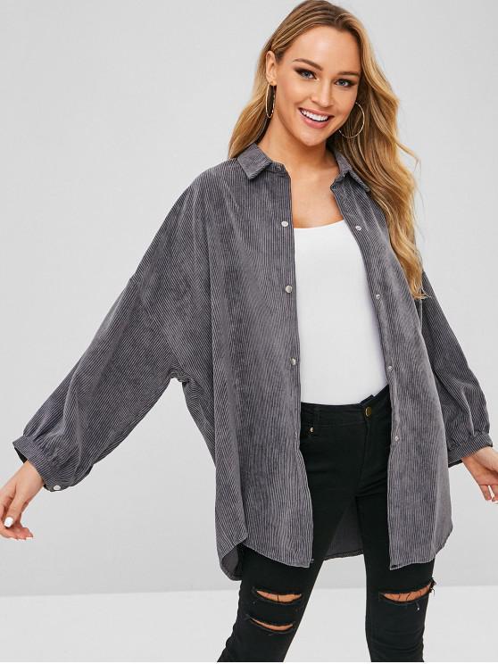 trendy Pocket Oversized Corduroy Shirt - GRAY CLOUD ONE SIZE