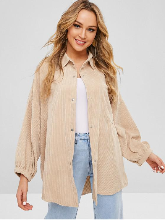 shops Pocket Oversized Corduroy Shirt - BEIGE ONE SIZE