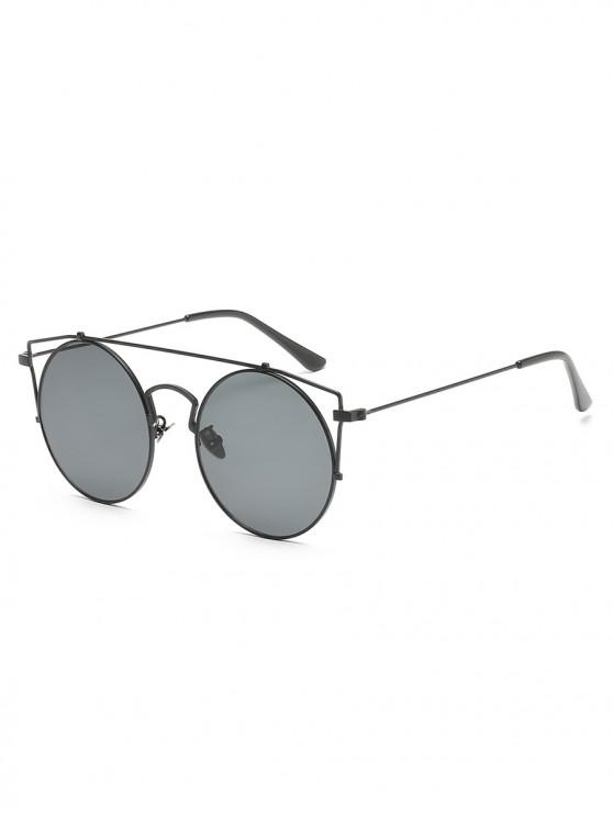 latest Anti Fatigue Metal Hollow Out Frame Round Sunglasses - CLOUDY GRAY