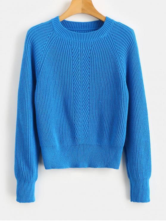 Raglanärmel-Pullover mit Ösen - Knallblau M