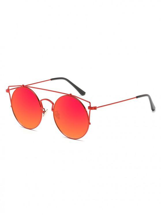 women Anti Fatigue Metal Hollow Out Frame Round Sunglasses - RED
