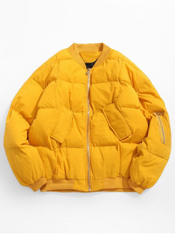 shops Solid Pocket Padded Bomber Jacket - YELLOW L