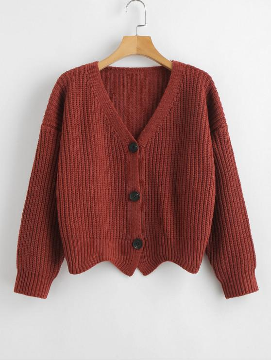 chic Scalloped Hem Chunky Knit Cardigan - CHERRY RED ONE SIZE