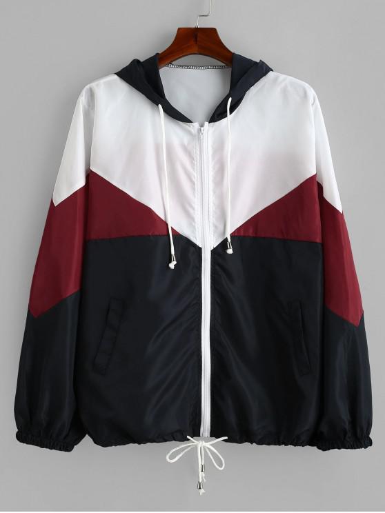 unique Tricolor Plus Size Light Windbreaker Jacket - RED WINE 2X