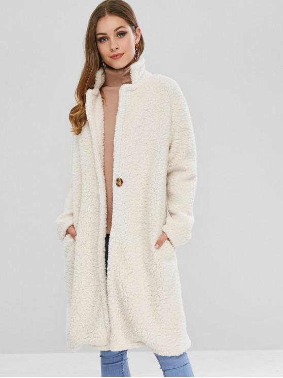 fashion One Button Faux Fur Winter Teddy Coat - WARM WHITE M