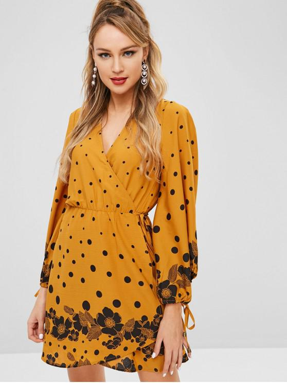women's ZAFUL Long Sleeve Polka Dot Wrap Dress - ORANGE GOLD M