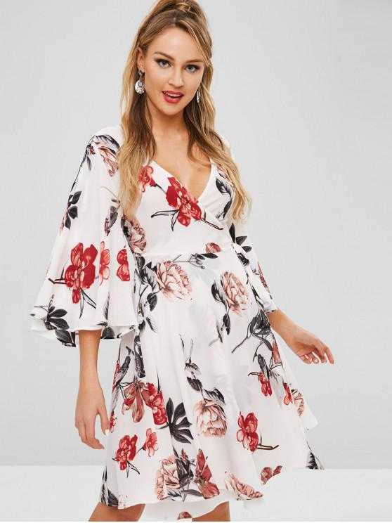outfit ZAFUL Flare Sleeve Flower Print Wrap Dress - MULTI S