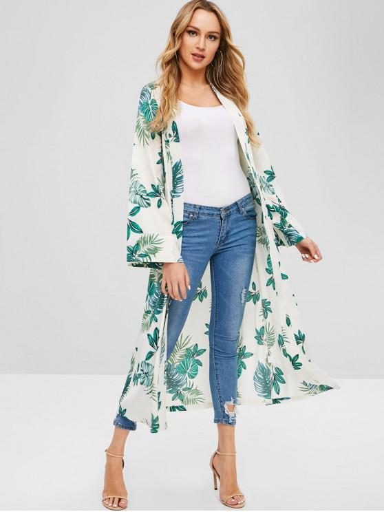 chic ZAFUL Leaves Print Open Longline Cardigan - MULTI XL