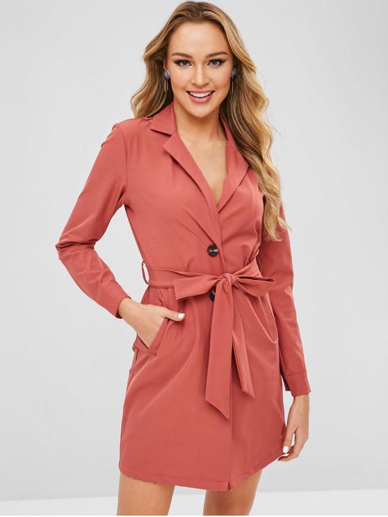 new ZAFUL Lapel Button Up Belted Blazer Dress - CHESTNUT RED L