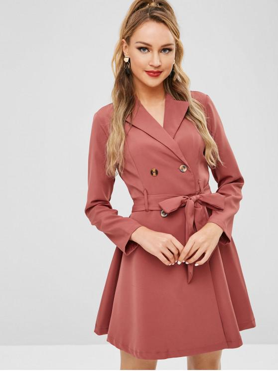 shop ZAFUL Lapel Double Breasted Belted Dress - CHERRY RED S