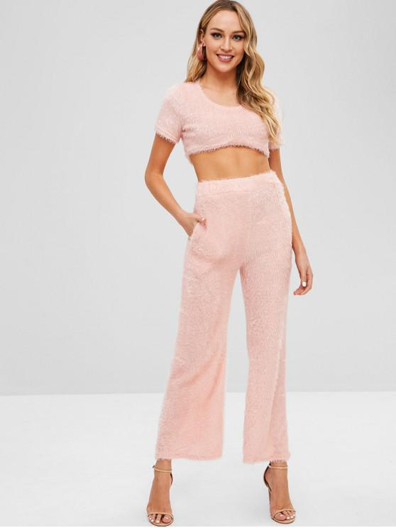 sale Fluffy Cropped Two Piece Set - PINK XL