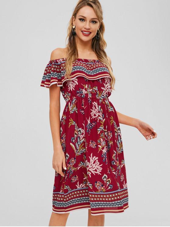 27f0dd6a791d6 30% OFF] 2019 Flounce Off Shoulder Print Boho Dress In RED | ZAFUL