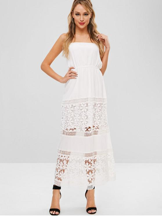 f1295609dcb 32% OFF  2019 Chiffon Crochet Panel Tube Maxi Dress In WHITE