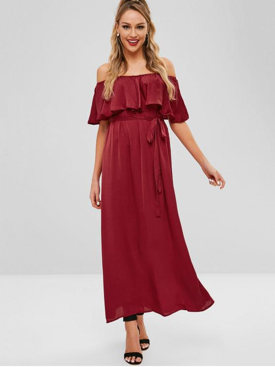 shop Maxi Flounce Off Shoulder Party Dress - RED WINE S
