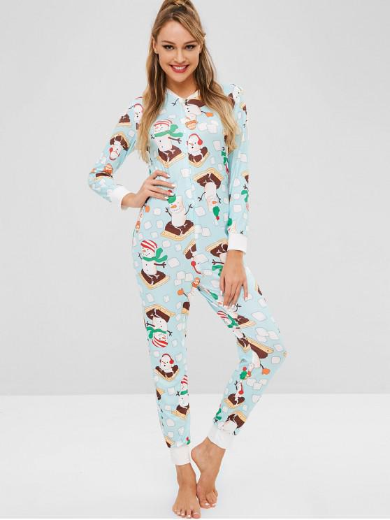 lady Snowman Print Christmas Jumpsuit - LIGHT CYAN M